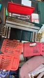 Lot - assorted drill bit kits, socket set