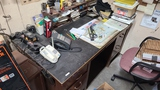 Desk with contents