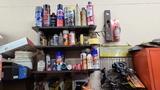 Wall lot - adhesives, heat guns. Hose clamps
