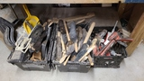 Assorted brushes, dust pans, etc