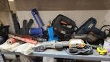 Shelf lot - assorted power tools, etc