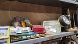 Shelf lot - lights, repair books, etc