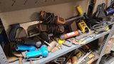 Shelf lot - assorted tools, wrenches, saws