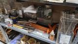 Shelf lot - assorted tools, nails, bolts, etc