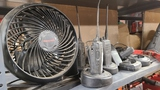 Shelf lot - radios, honeywell fan