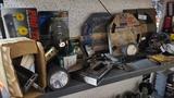 Shelf lot - band saw blades, target, stapler, etc