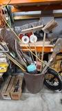 Barrel of assorted hand tools