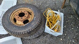 (2) 225 75 16 tires, electric cord, hand pump