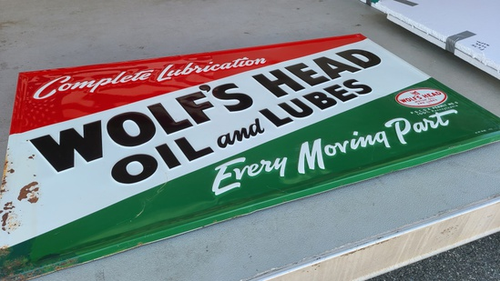 Vintage Wolfs Head Oil And Lube Metal Sign