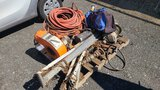 Pallet Lot - cable winch, blower. Air line.