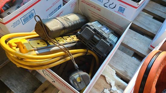 Box lot - inverter, power strip. Assorted