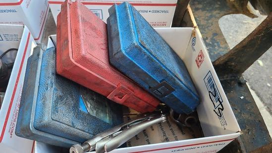 Box lot - socket sets, misc tools