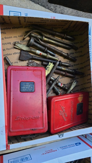Lot - snap on hex sets, assorted chisels