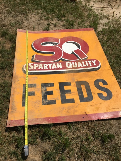 Large SQ Spartan Quality Feeds Metal Sign (59 Inches Tall X 47 1/2 Inch Wide (Local Pick Up Only)