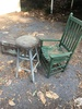 Box Lot/Chair, Stool, Old Wooden Foot Locker (Local Pick Up Only)