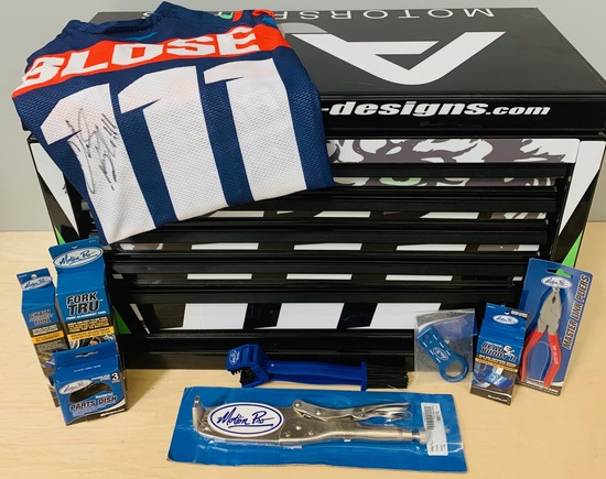 AJE Gas Monkey Custom Tool box, kit, and Signed Jersey.