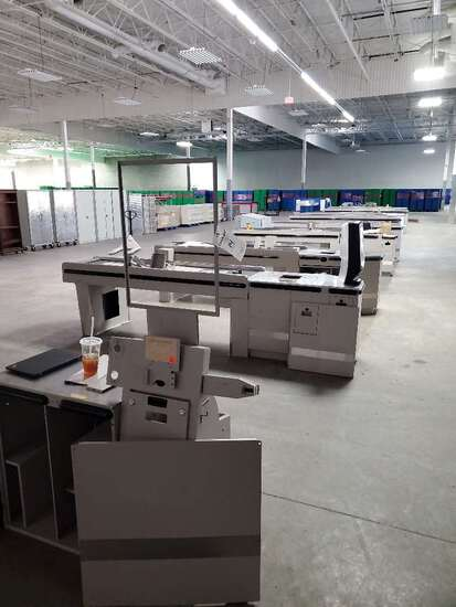 Pan Osten Checkout Counters With Cash Stations, and Two Self Checkout Counters