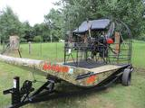 2012 AIR RANGER 18' AIR BOAT, 6 CYL CONTINENTAL HIGH PWR MOTOR, CARBON PROP, DRIVE ON TRAILER, FULL