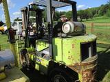CLARK GPX40E FORKLIFT, S/N GPX71501309509FB, 7900 LB CAPACITY, 2 STAGE MAST, PROPANE ENG