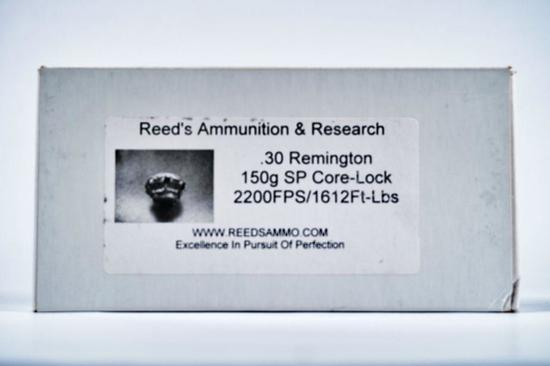 20 ROUNDS REEDS AMMUNITION 30 REMINGTON 150 GR SP CORE-LOCK