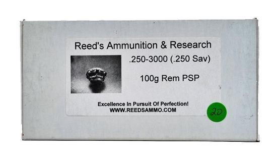 20 ROUNDS REEDS AMMUNITION & RESEARCH 250-3000 (.250 SAV) 100 GR REM PSP