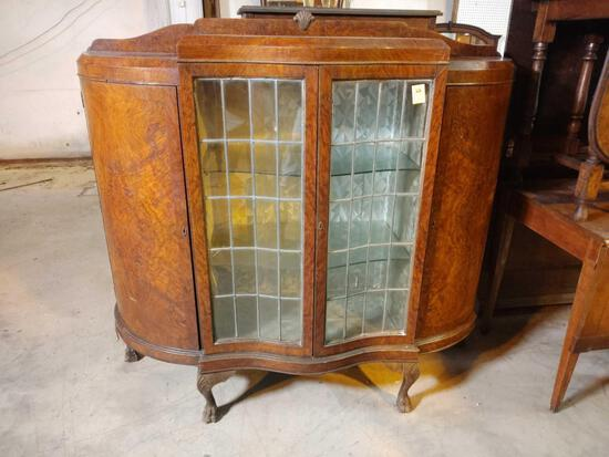 GLASS FRONT CLAW FOOT BOOKCASE