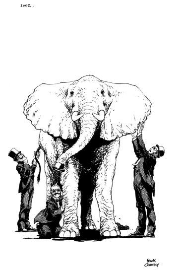 "FRANK QUITELY - BLIND MEN AND ELEPHANT FROM ""BROADBAND"""
