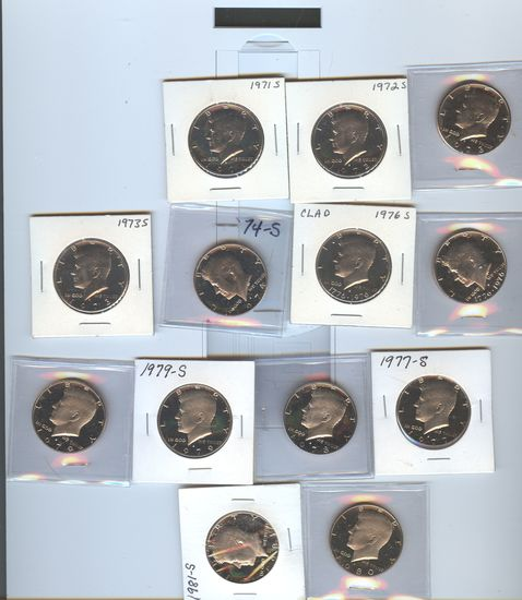 13 PROOF KENNEDY HALF DOLLARS
