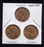 3 RED BU UNC ... Lincoln Wheat Back Cents