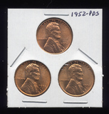 1952-P D S ... BU  UNC  RED ... Lincoln Cents