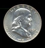 1957-D ... CH BU UNC ... Franklin Half Dollar