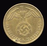 1938-E  ...  10 Pfennig  ...  Nazi German Coin