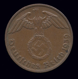 1939-B  ...  2 Pfennig  ...  Nazi German Coin