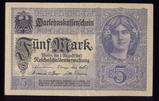 1917 ... 5 Marks ... Old German Banknote