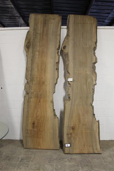 Lot of two locally salvaged live edge Sinker Cypress slabs with birdseye grain pattern; dimensions a