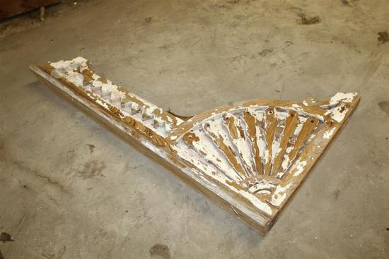 """1 salvaged antique New Orleans corbel with chippy peach paint; approx. 3 1/4"""" (thick) x 33"""" (tall) x"""