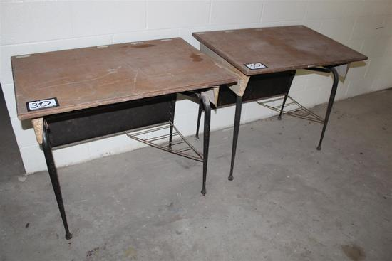 """Set of two salvaged vintage New Orleans school desks; approximately 36"""" wide x 24"""" deep x 30"""" tall"""