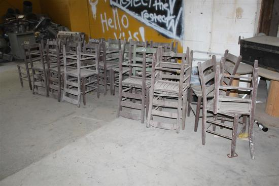 """Lot of 22 vintage wooden café chairs salvaged from French Quarter in New Orleans; approximately 35"""""""