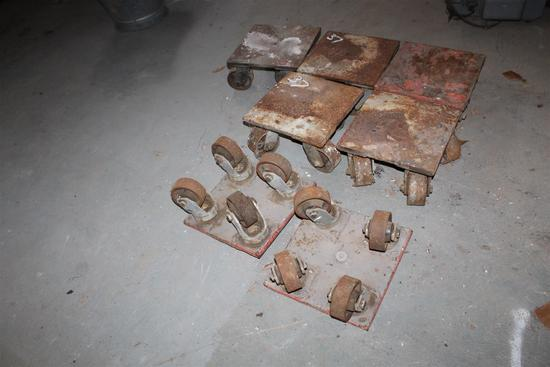 """Lot of 8 industrial wheel bases approximately: 1' x 1' x 6"""" tall"""