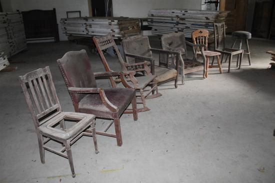 Lot of 8 assorted chairs and barstool; assorted sizes