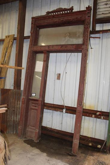 """Victorian Antique entrance façade with transom; dimensions approximately 11"""" deep x 63"""" wide x 128"""""""