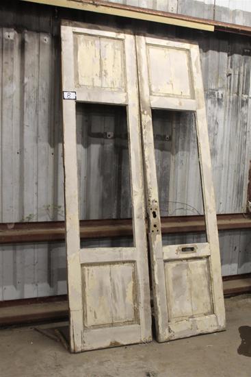 "Set of antique chippy painted Selma, AL doors; approx. 2"" x 27"" x 107"" ea."