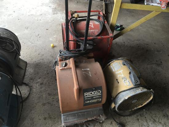 AIR MOVERS LOT OF 3 AIR MOVERS 1 RIDGID, 1 AIRHOG, 1 ALLEGRO