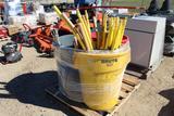 Misc Plastic/Wood/Steel Handles w/ (3) Garbage Cans