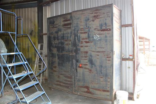 LARGE METAL CABINET APPROX 2' DEEP X 8' WIDE X 8' TALL