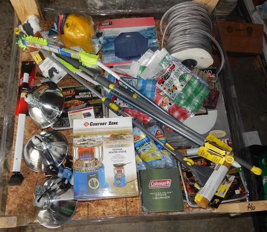 UNUSED 4x4 PALLET OF CAMPING SUPPLIES, HOUSEHOLD ITEMS AND LIGHTING