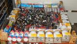 UNUSED 4X4 PALLET OF BULBS, HOUSEHOLD ITEMS AND TOOLS
