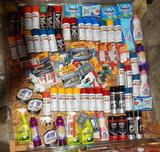 UNUSED 4x4 PALLET OF SPRAY PAINT AND CLEANING SUPPLIES