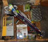 UNUSED 4x4 PALLET OF CLEANING SUPPLIES, EDGER ATTACHMENT AND CAMPING SUPPLIES