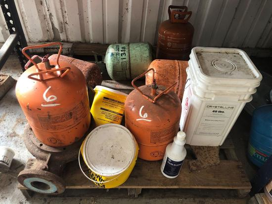 Lot of Misc Air Tanks - Trash Can Tops